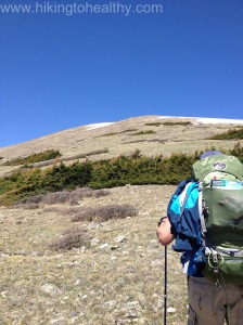 Approaching the Boulder field.  It is already pretty steep.