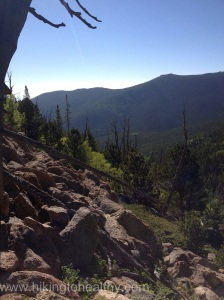 The view at the end of a switchback and the view southeast.