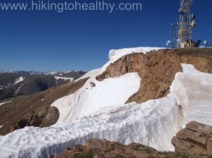 Wall of snow along the ridge line of Mines