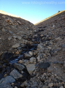No more glacier here just rubble and some running water from what is melting above