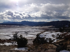 View from the bluffs facing south west towards Pikes Peak.