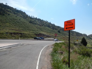 Crossing over to the Dinosaur Ridge part and a closed road.