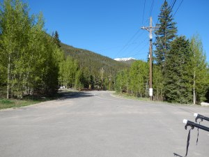 Looking up the paved road towards the trail head