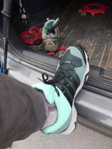 Yes I am wearing purple socks with mint green trail runners.